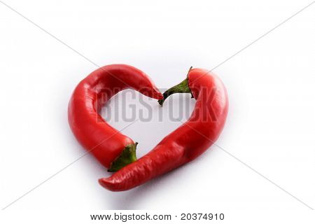 two chili peppers heart shaped
