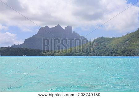 View from sea on mount Otemanu on Bora Bora island. French Polynesia