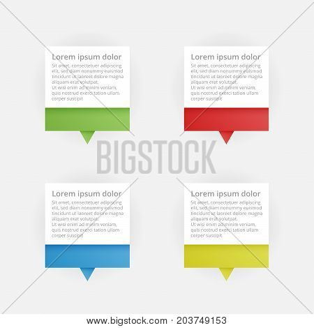 Colorful paper marks with text on white background. Map pointer. Vector illustration.