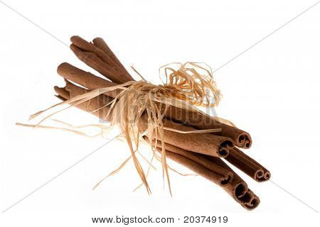 Cinnamon sticks tied as decoration