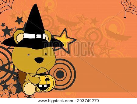 cute little baby porcupine cartoon halloween costume background in vector format very easy to edit