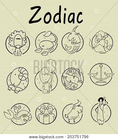 Set of 12 zodiac icons. Freehand drawing. Vector illustration