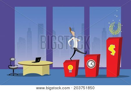 Business step to success. Businessman going up stairs to his success. Vector