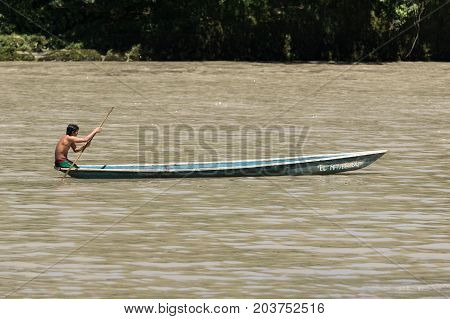 June 6 2017 Misahualli Ecuador: canoes are used as a main transportation on river Napo in the Amazon area of the country