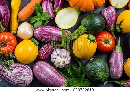 Fresh Organic Vegetables - Round Courgette, Small Eggplants, Tomatoes, Diet Concept, Italian And Fre