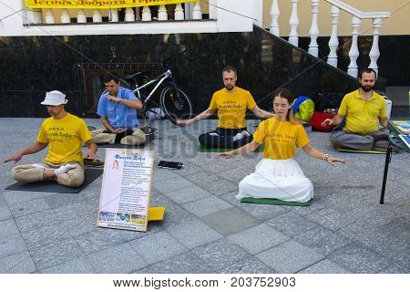 Falun Dafa. Traditional Chinese gymnastics combined with elements of Buddhism. Day of the city. Zhitomir of the year 1133. September 2017 Ukraine.
