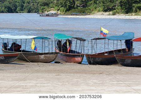 June 6 2017 Misahualli Ecuador: boats are used as a main transportation on river Napo in the Amazon area of the country