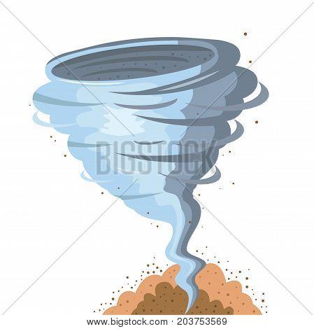 Powerful and strong tornado on white background for design