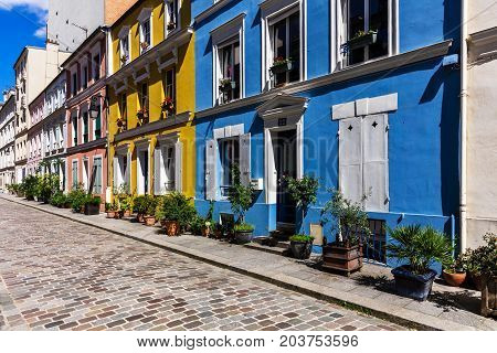 Cremieux street (Rue Cremieux) in the 12th Arrondissement is one of the charming and picturesque residential streets in Paris. The trees and shrubs give the street a country feeling. Paris France