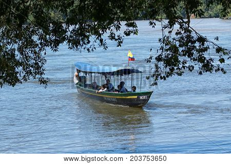 June 6 2017 Misahualli Ecuador: motorized small boats are used as a main transportation on river Napo in the Amazon area of the country