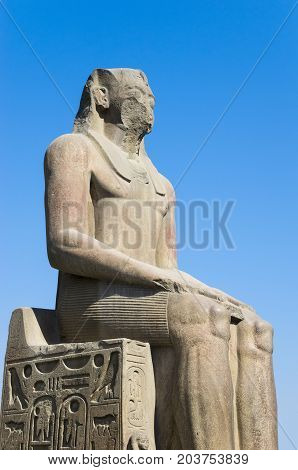 Ancient statue. Cairo Museum of Egyptology and Antiquities. Exhibits in front of the museum.