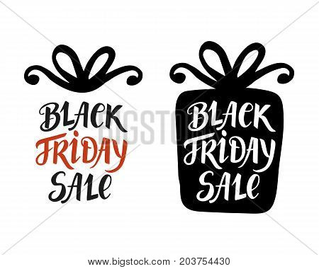Black Friday Sale lettering, inscription in gift box, modern banner. Advertisement placard, promo, flyer. Promotional design for online store, web site. Vector business template