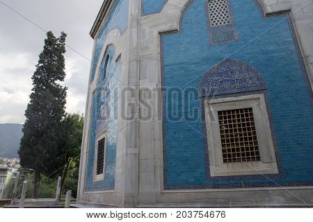 Bursa, Turkey - 15 June, 2013; The Green Tomb (Yesil Turbe) is a mausoleum of the fifth Ottoman Sultan, Mehmed I, in Bursa, Turkey.