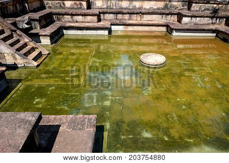 Kumara Pokuna or Prices' Bathing Pool in Polonnaruwa ruins. Unesco world heritage on Sri Lanka.