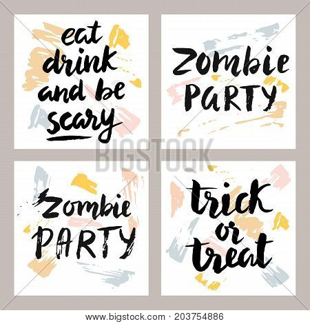 Halloween cards with hand written brush lettering set. Vector illustration. Poster typography design