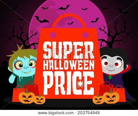 Super Halloween price design background with kids.Vector illustration