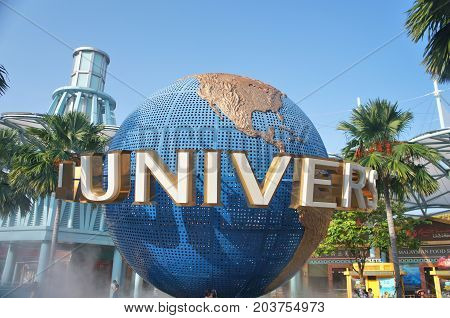 SINGAPORE - OCTOBER 7 2015: Universal Studios Singapore theme park globe on Sentosa island