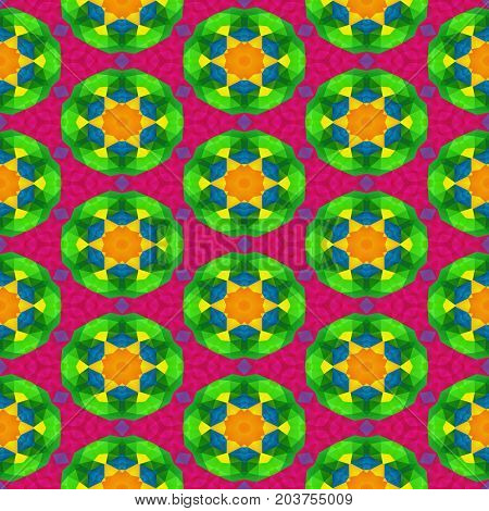 mosaic kaleidoscope seamless texture background - full spectrum colored with round floral pattern