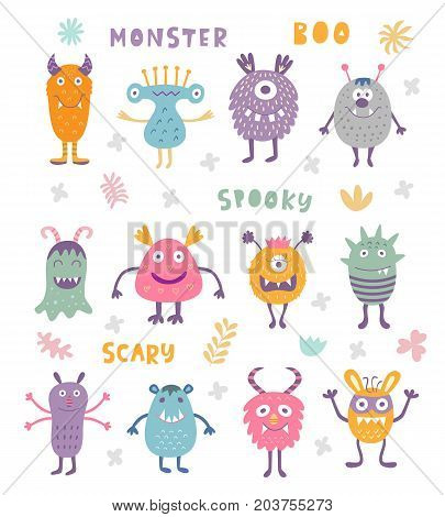 Vector Set of Cute Scary Halloween Monsters. Colorful kids toy cartoon characters.