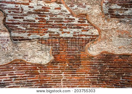 Remains of plaster on the wall of Royal palace of King Parakramabahu in Polonnaruwa
