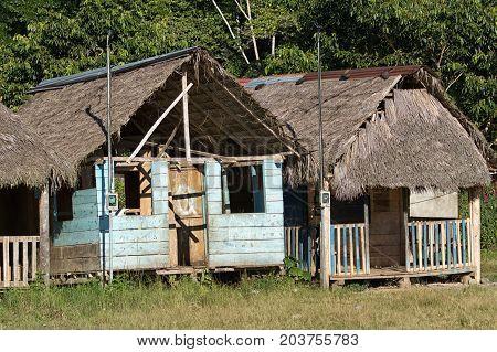 June 6 2017 Misahualli Ecuador: small habitation shacks in the Amazon area