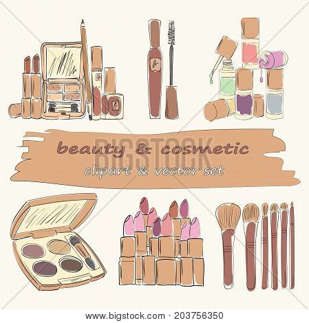 Set of 6 Makeup and Cosmetics objects