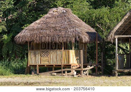June 6 2017 Misahualli Ecuador: small habitation shack made of bamboo in the Amazon area
