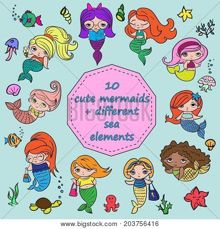 Set of 10 cute mermaids + different sea elements