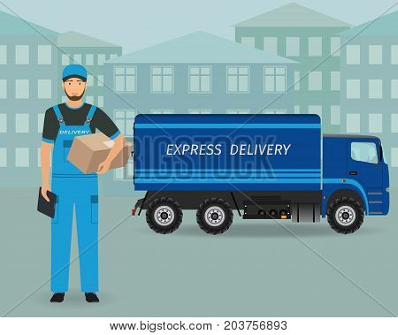 Delivery employee character standing with folder and package on a express delivery service car background. Post workers concept. Vector illustration.