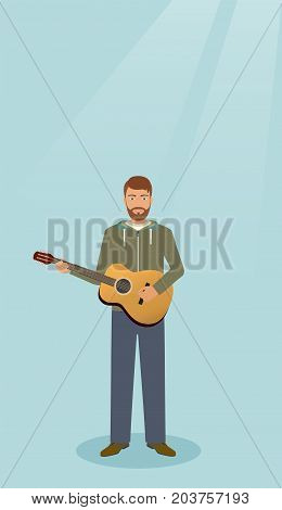 Guitarist with musical instrument standing alone. Musician man with guitar. Vector illustration.