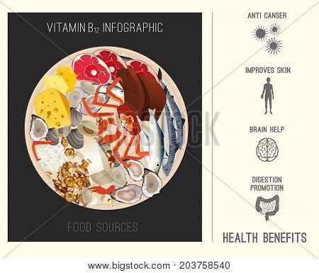 High vitamin B12 Foods. Healthy seafood, meat, fish, crab, clams, liver, cottage cheese and oysters. Vector illustration with health benefits infographic on a light beige background.