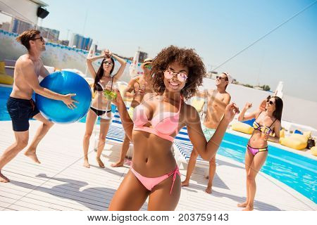 Hot Mulatto Chic With Mohito Is Posing, Dancing At The Beach Pool Disco Party, Enjoying, Chilling Wi