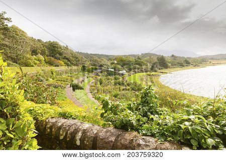 Inverewe - august 2014: in this garden that is located near the village of Poolewe in August you can admire endemic plants and flowers in the terraced amphitheater facing the sea