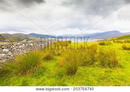 Scottish heath and lake in the outskirts of Inverness in summer Scotland