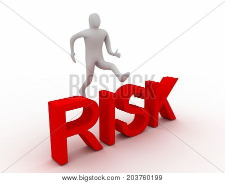 3d man jumping over word risk . 3d rendered illustration