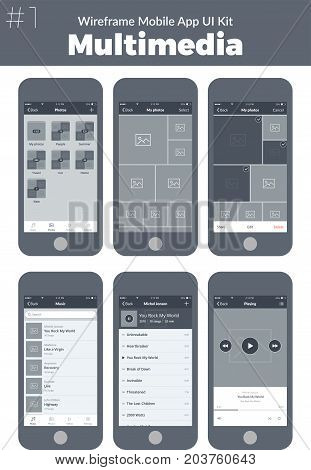 Wireframe UI kit for mobile phone. Mobile App Multimedia. Photo, music, albums, artists, tracks and playing screens