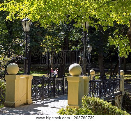 KISLOVODSK, RUSSIA - SEPTEMBER 09, 2017:Openwork metal bridge on Kurortnoy boulevard.Resort park - ornament and pride of Kislovodsk,Caucasus, Russia