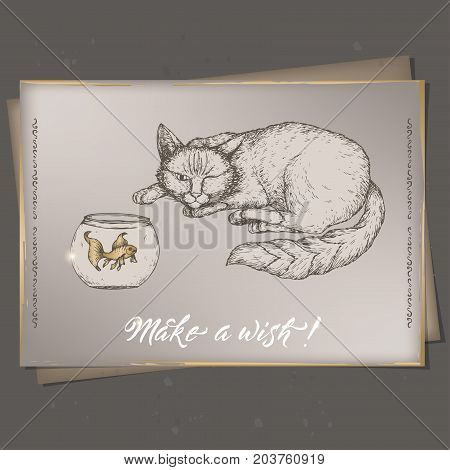 Romantic A4 format vintage birthday card template with calligraphy, cat and goldfish sketch. Great for holiday design.