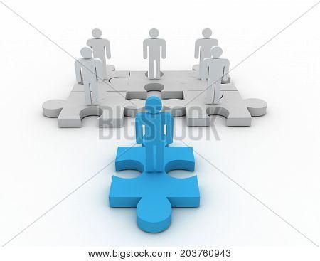 business leader of team on puzzle . 3d rendered illustration
