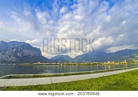 Picturesque View Of Lake Como And Lecco City, Italy