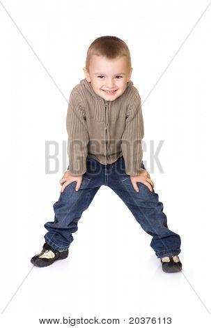 preschool boy posing for kids fashion show