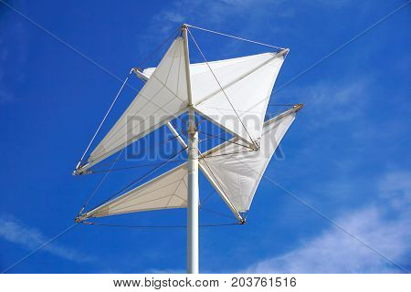 a windsock inflated by the wind on the sky