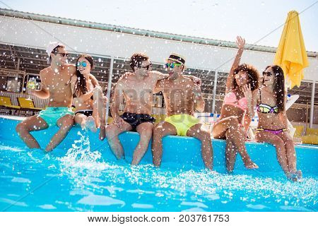 Party All Day! Go Crazy Non Stop. Six Excited Multi National Tourists Are Enjoying At The Pool Sunny