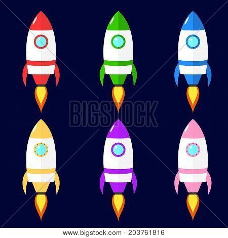 Set of vector flat rockets. Cartoon spaceship isolated from background
