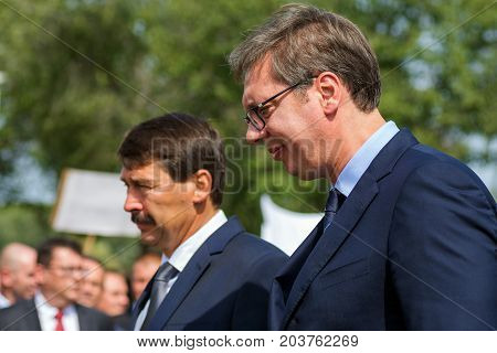 The Serbian president Aleksandar Vucic and the Hungarian president Ader Janos together in Senta town in Serbia at September 11 2017.