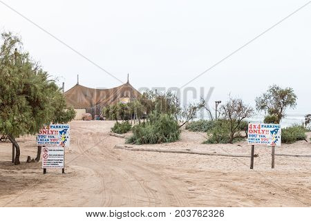 SWAKOPMUND NAMIBIA - JUNE 30 2017: Tiger Reef restaurant and bar in Swakopmund in the Namib Desert on the Atlantic Coast of Namibia