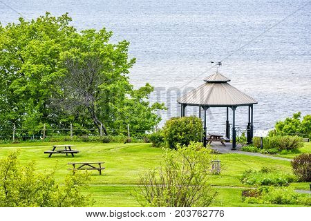 Landscape Aerial View Of Sainte-famille Park In Summer In Ile D'orleans, Quebec Canada By Saint Lawr