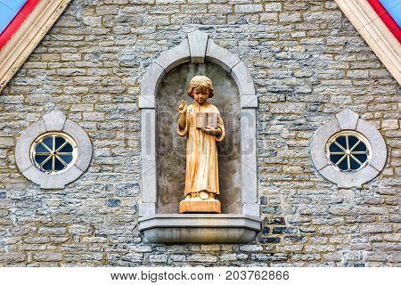 Ile D'orleans, Canada - June 1, 2017: Eglise Sainte-famille Church Parish With Stone Architecture, G