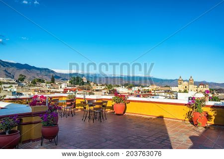 Rooftop balcony with a beautiful view of Santo Domingo church in Oaxaca Mexico