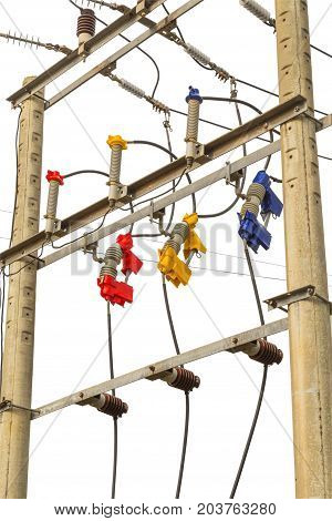 Automatic fuze ceramic High voltage power lines with electricity pylon isolated on white background